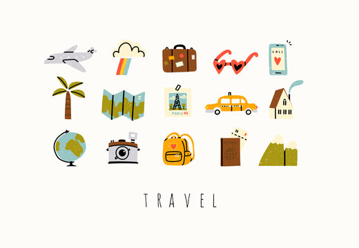 Various travel, vacation or holiday icons and logos. Cute hand drawn trendy vector illustrations. Cartoon style. Flat design. Naive art. All elements are isolated