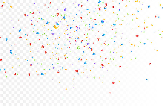 Confetti background vector isolated. Colorful bright confetti pieces. Holiday festive background