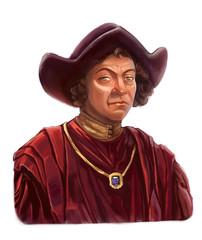 Portrait of Christopher Columbus on white background
