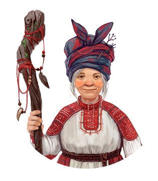 Portrait old woman folk healer, shaman, witch