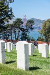 view of the Golden Gate bridge from National Cemetery in the Presidio.