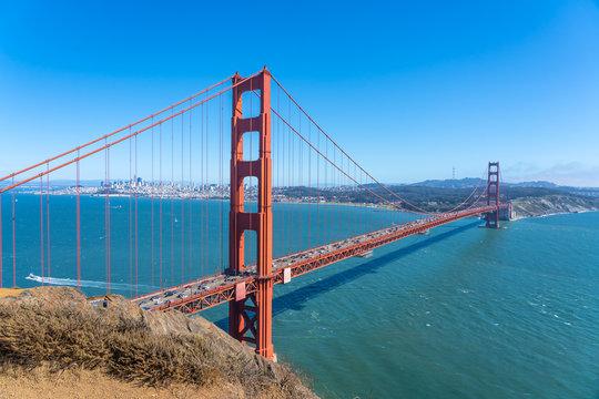 View of the famous Golden Gate Bridge, San Francisco.