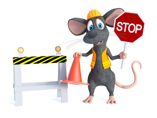 3D rendering of a cartoon mouse construction worker.