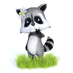3D rendering of cute raccoon with flower.