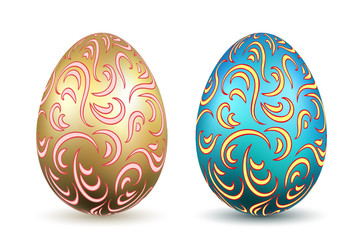 Easter egg 3D icons. Ornate gold color eggs set, isolated white background. Swirl realistic design, decoration Happy Easter celebration. Holiday ornamental element. Spring pattern. Vector illustration
