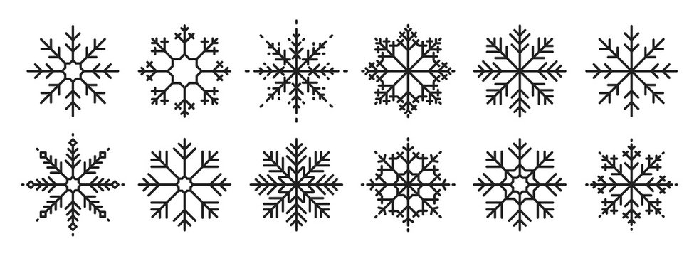 Snowflakes big set icons. Flake crystal silhouette collection. Happy new year, xmas, christmas. Snow, holiday, cold weather, frost. Winter design elements. Vector illustration.