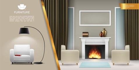 Realistic Living Room Interior Concept