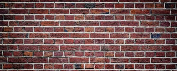 Old rustic brick wall panorama. Masonry background.