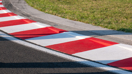 Motor racing circuit Red and White Kerb