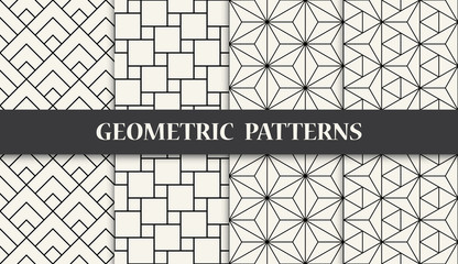 Foto op Canvas Kunstmatig black and white geometric seamless pattern set