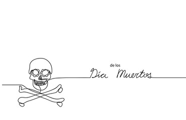 Dia de los muertos (Day of the Dead) vector background, banner. Mexican traditional carnival, holiday banner with skull. Dia de los muertos one line drawing.