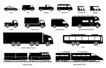 List of commercial landed vehicles transportation icons. Illustrations artwork depict land transport for commercial  work. These are taxi, van, pickup, truck, bus, lorry, and train.