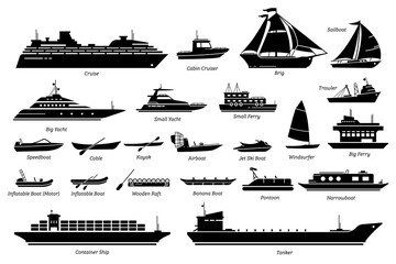 List of different type of water transportation, ships, and boats icon set. Artwork of cruise, brig, sailboat, yacht ferry, trawler, speedboat, jet ski, windsurfer, pontoon, container ship, and tanker.
