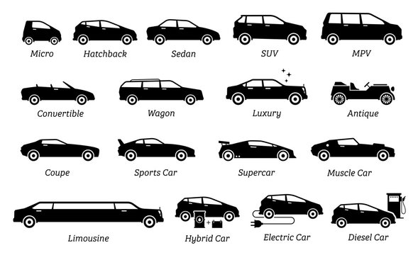 List of different types of car icons. Set icon of cars, transportation, vehicles from different segments and types in simple silhouette black pictogram. Side view of many type cars.