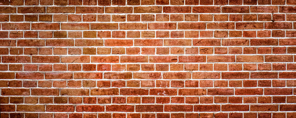 Poster Brick wall Red brick wall or masonryr, wide panorama or banner texture.