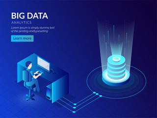 Big Data storage technology based isometric design with glowing database or server and analyst analysis the data.