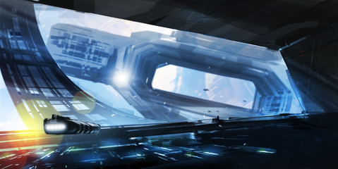 Digital painting Rotating space station _ SciFi concept