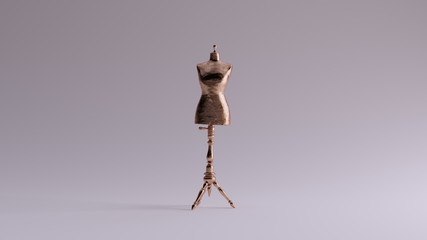Bronze Judy Dressmakers Dress Form  Mannequin Front View 3d illustration 3d render