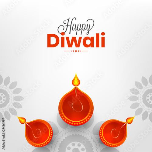 Happy Diwali Greeting Card Design Top View Of Illuminated