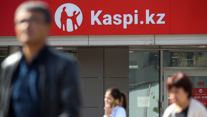 The Kaspi Bank logo in seen at the bank's branch in Almaty