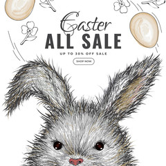 Hand drawn bunny illustration on white background for template Easter Sale template or flyer design.