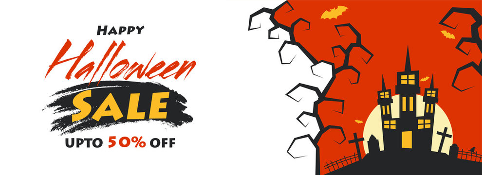 Happy Halloween Sale header or banner design with 50% discount offer and illustration of haunted castle on orange background.