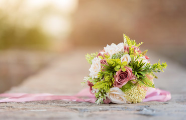 Closeup photo of wedding boquet