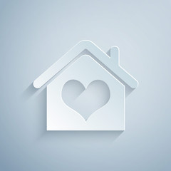Paper cut House with heart shape icon isolated on grey background. Love home symbol. Family, real estate and realty. Paper art style. Vector Illustration
