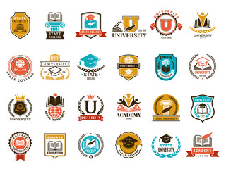 College emblem. School or university identity symbols badges and logo vector collection. College and school, university emblem illustration