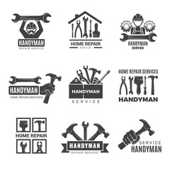 Handyman logo. Worker with equipment servicing badges screwdriver hand contractor man vector symbols. Equipment for repair and construction logo, service logotype toolbox illustration
