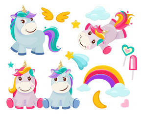 Unicorn. Cute magic animals happy birthday symbols little pony baby horse vector colored cartoon pictures. Illustration of unicorn baby, animal horse, pony dream