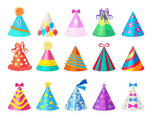 Party colored caps. Birthday cone hat for carnival vector pictures isolated. Celebration cap accessory paper to birthday and carnival illustration