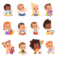Baby characters. New born kids playing toys happy childhood small little one vector babies. Illustration baby child newborn with teddy, playing toddler