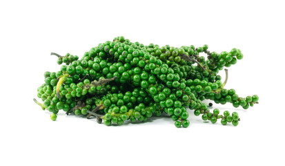 Fresh green peppercorns isolated on white background with clipping path
