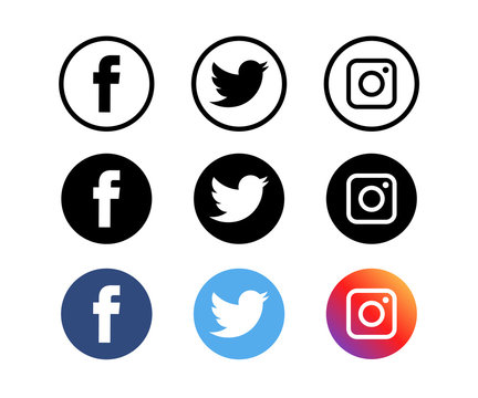 VINNYTSIA, UKRAINE - OCTOBER 7, 2018: A social media logotype collection printed on white paper : Facebook, Twitter and Instagram logo