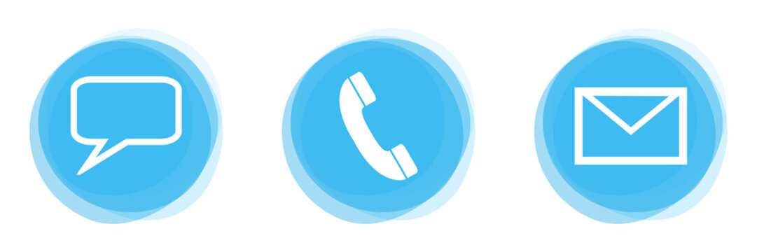 3 Kontakt Icons auf hellblauen Buttons