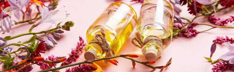 panoramic shot of bottles with oil on pink background with fresh wildflowers