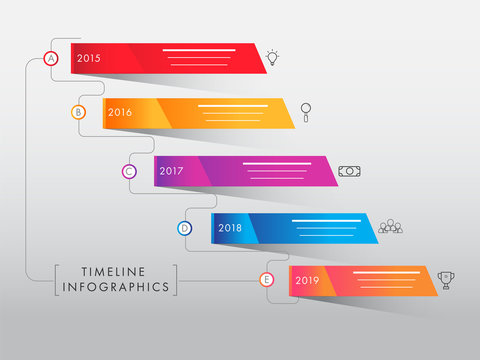 Colorful timeline infographic elements on gray background. Yearly business growth or success concept.