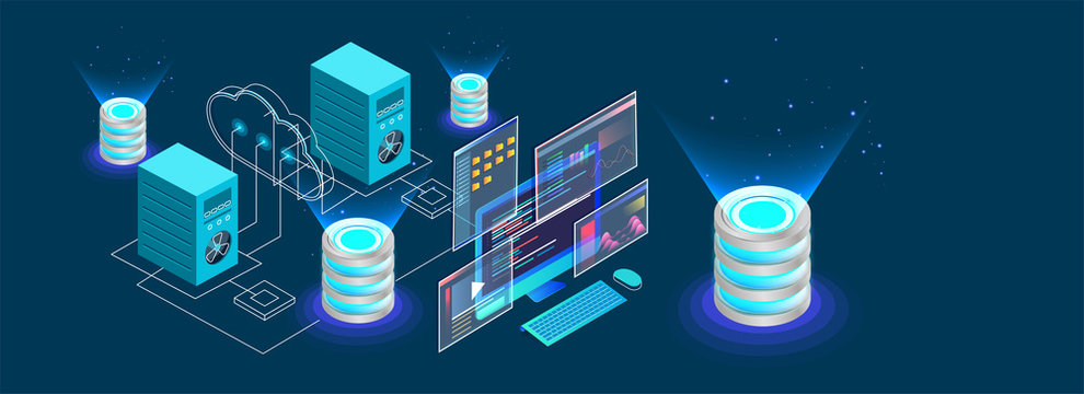 Isometric desktop connected to servers and database on blue background for Data Center concept based isometric design.