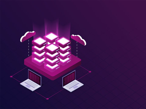Four servers connected with laptops on purple background isometric design for Data Management concept.