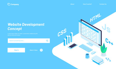 Isometric illustration of desktop with  different programing languages or work place of a developer, Website Development concept hero image design.
