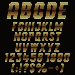 Alphabet, letters, numbers and signs of the pixels with gold gradient. Set of color vector isolated objects.