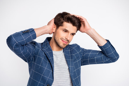 Portrait of minded well-dressed charming man touch his haircut fix hairdo wear plaid jacket blazer isolated over white background