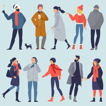 Set of vector people characters wearing winter clothes . Seasonal design elements set for christmas and new year banner, poster, card, presentation, website and mobile app design.