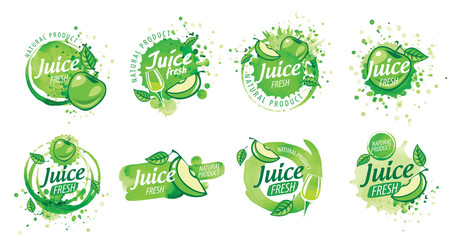 Set of vector logos splashing green Apple juice on white background