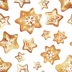 Gingerbread. Hand drawn watercolor seamless pattern traditional cookies with icing sugar, gingerbread star and snowflake. Elements for holiday, cards, wrapping paper.