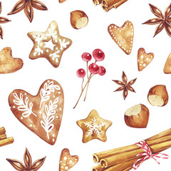 Gingerbread. Hand drawn watercolor seamless pattern traditional cookies with icing sugar, gingerbread star,  heart, berries, cinnamon, nuts and ect. Elements for holiday, cards, wrapping paper.