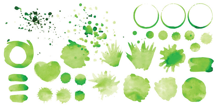 Set of vector green splashes on white background
