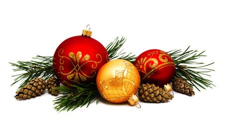 Christmas decoration golden yellow and red balls with fir cones and fir tree branches isolated Wall mural