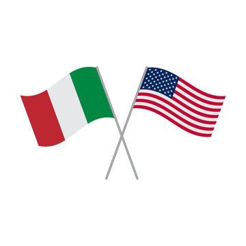 Italian and American flags vector isolated on white background